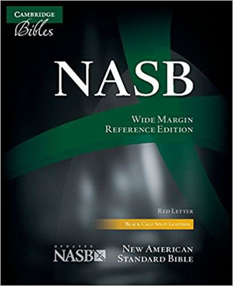 Picture of NASB WIDE MARGIN REFERENCE BIBLE BLACK CALFSPLIT LEATHER